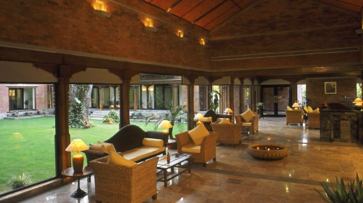 Welcoming: The Lobby at Gokarna Forest Resort.
