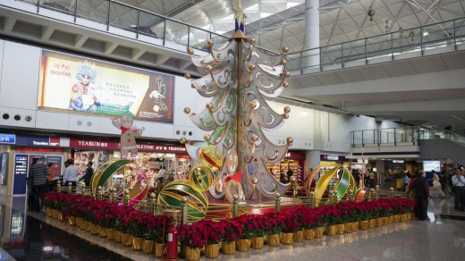 Sparkly: Hong Kong International Airport sports Christmas decorations.