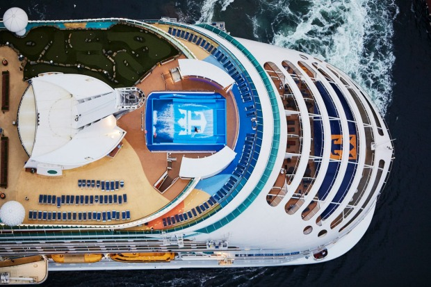 An aerial view of the Flowrider on board the Voyager of the Seas, the largest ship to cruise Australian waters.