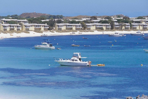 Boats moored in Longreach Bay, on Rottnest Island. It's just a quick boat ride from bustling Fremantle, but tranquil ...