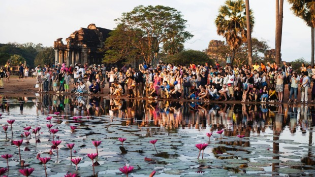 Selfish? Tourists at Angkor Wat.