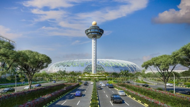 View from Airport Boulevard: The new landscape view for passengers and visitors driving to Changi Airport.