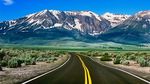 A road leading to eastern slopes of the Sierra Nevada Mountains, Central California, USA.
