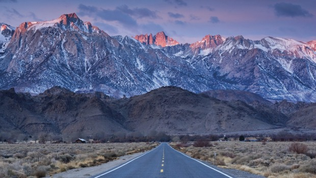 Eastern Sierra Nevada with Alabama Hills in foreground from State Highway 136 near Lone Pine.