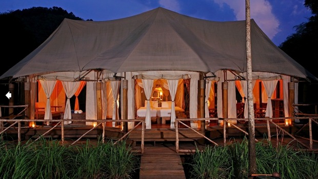 Despite the bizarre juxtaposition of an African safari-style luxury tent on a tiddly Thai island, the Private Beach ...