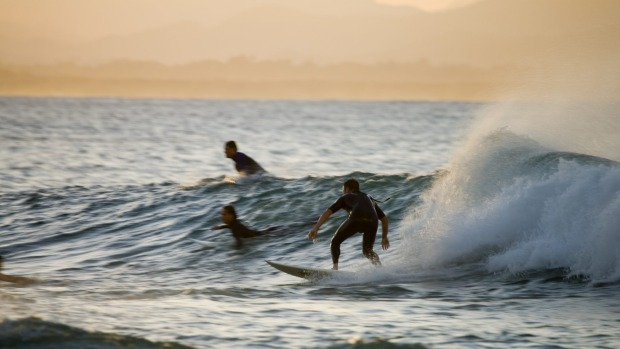 Catching sunset waves at The Pass, Byron Bay.