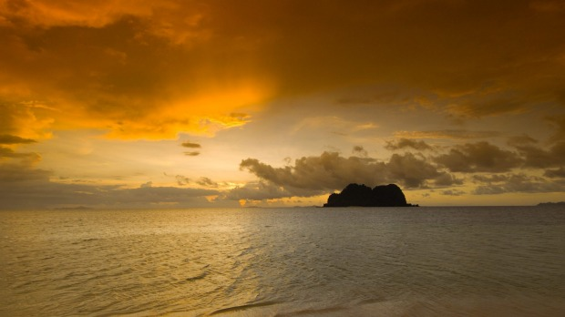 Sunset over Vomo Island, Fiji.