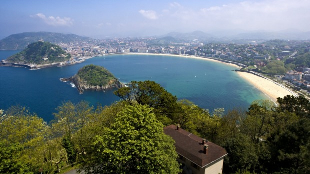 Aeriel view of Playa de la Concha, in San Sebastian, Spain.