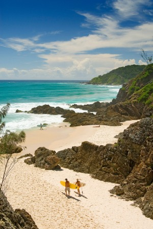 The perfect surf beach: The Pass, Byron Bay, as viewed from the lookout.