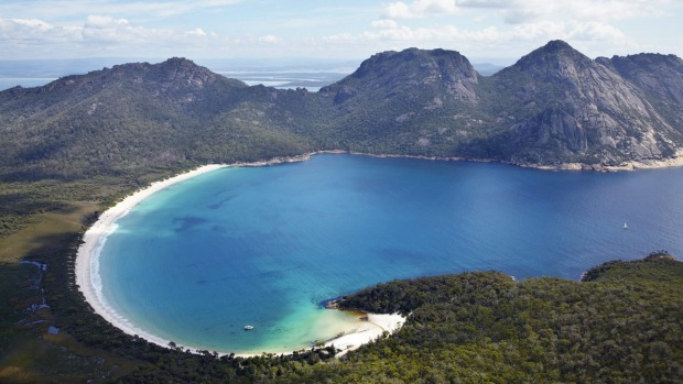Aerial of Wineglass Bay and The Hazards, Freycinet National Park, Tasmania.