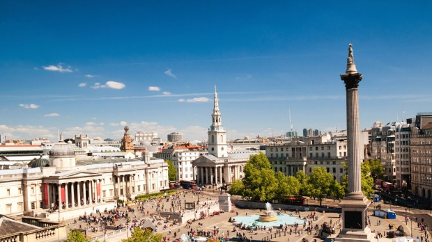 """Trafalgar Square: """"Too tall""""  With mighty lions guarding it, surrounded by the country's most prestigious galleries, ..."""