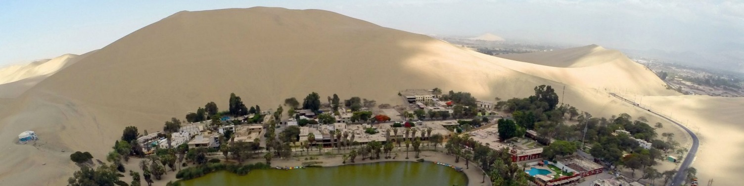 Aerial  view of the Huacachina Oasis in Ica, Peru, some 300 km south of Lima.