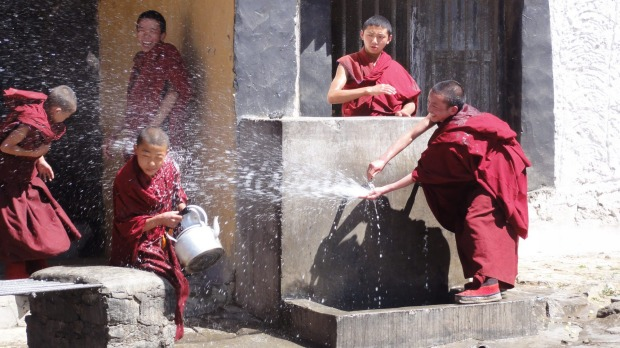 Is this the world's highest water fight? On a tour through Tibet in May 2013, we visited Tashilhunpo Monastery in ...