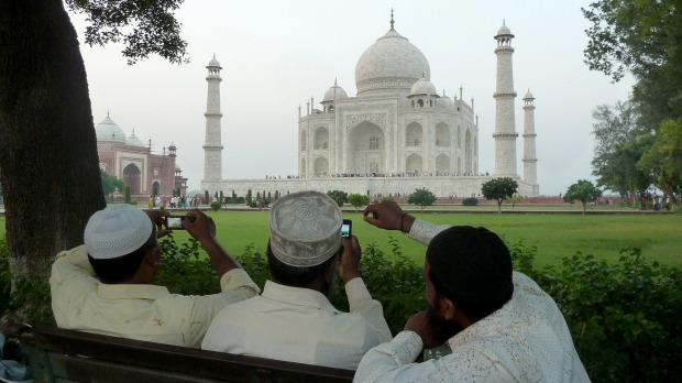 Agra, India. The Taj Mahal, said to be the world's most beautiful building, and perhaps the most photographed. It almost ...