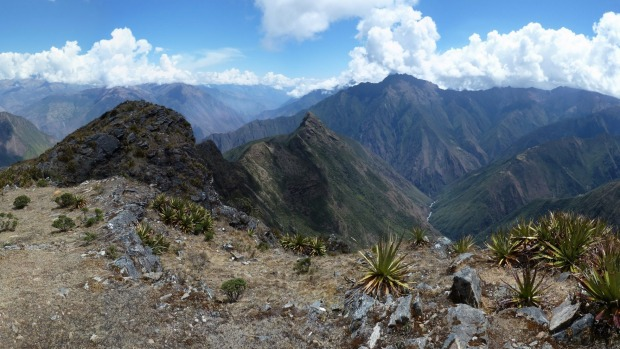 The view from the San Juan Pass (4110m) in the Willkapampa Mountains of Peru  demands the camera be set in panorama ...