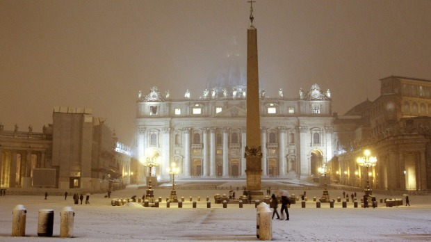 Winter light can transform the warm colours of Rome's buildings during winter.