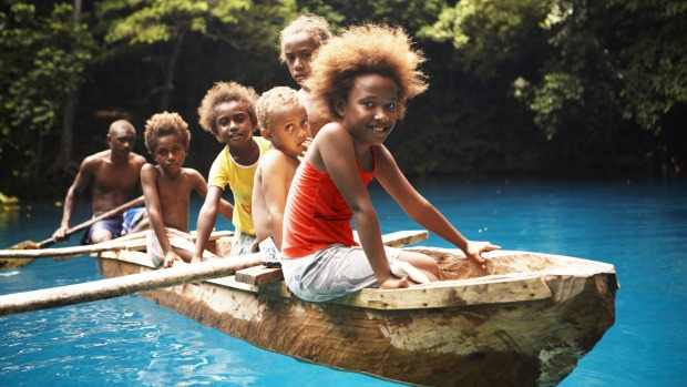 RIRI RIVER AND BLUE HOLES, VANUATU: Take a peaceful journey through the steamy rainforest of the Riri River in a dugout ...