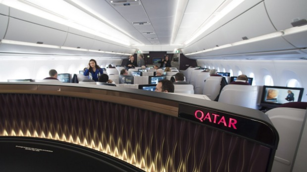 Inside business class on board the Qatar Airways' first Airbus A350.