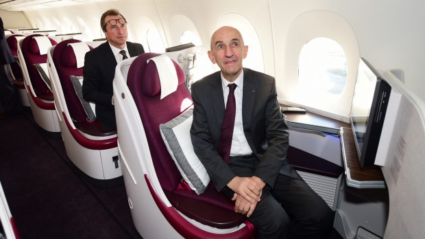 Former Airbus CEO Louis Gallois on board the A350.