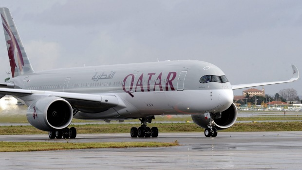 The Airbus A350 XWB during the first delivery of the new passenger jet at Qatar Airways in Toulouse.