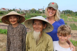 Happy tourists: Tracey Spicer and her son loved travelling through Vietnam and meeting locals.