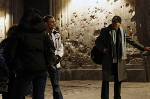 Ramon Holgado (R) conducts a tour for Barcelona Hidden City Tours.