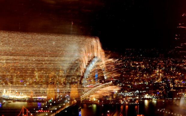 Fireworks over Sydney Harbour Bridge, New Year's Eve.