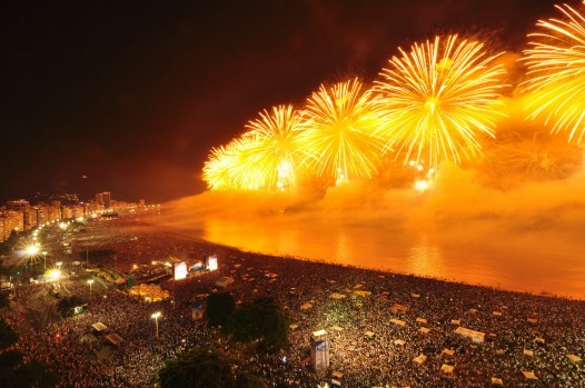 Busy Copacobana Beach attracts 300,000 revellers on New Year's Eve in Brazil.