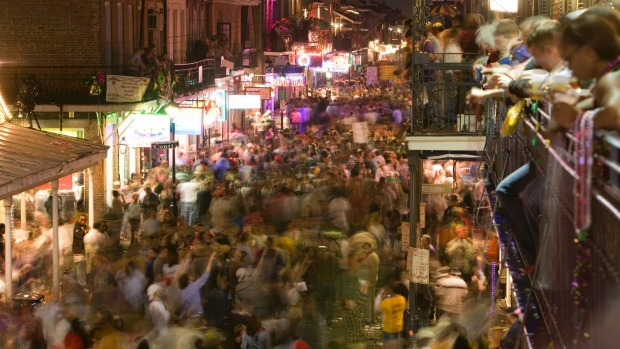 Clubbers should head to Bourbon Street, New Orleans, on New Year's Eve where it's warm enough - and legal - to party outside.