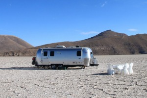 Cosy abode: The Airstream campervan, imported from the United States, is more luxurious than most hotels.