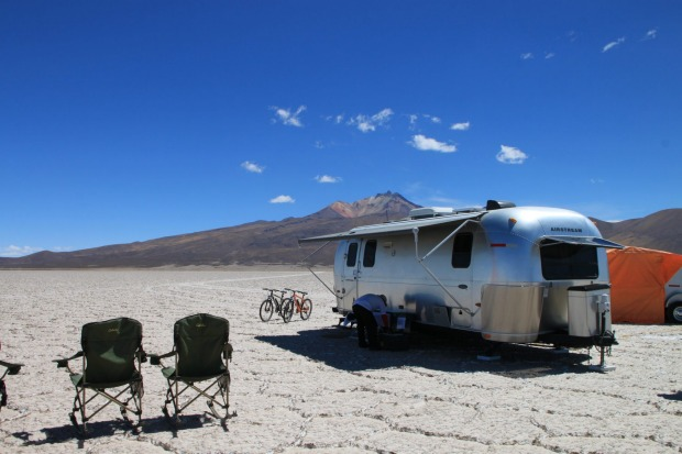 Airstream Camper at Lake Uyuni, Bolivia.