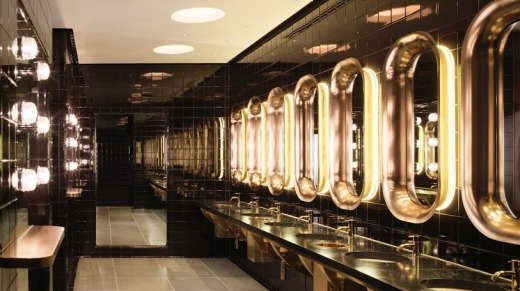 Ship shape: The restrooms at the Mondrian London would put the first-class cabins on any glamorous art deco ocean liner ...