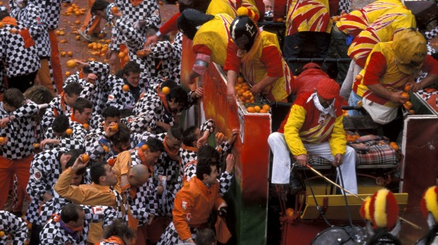 Battle of the Oranges, Italy: Everyone knows about La Tomatina, the Spanish tomato fight, but few know about this ...