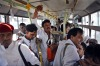 Members of Master Band travel in bus for work, in New Delhi, India.
