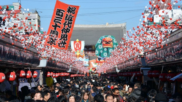 New Year decorations are displayed at the Nakamise shopping alley approaching Sensoji temple in Tokyo's Asakusa area, Japan.