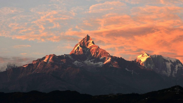 A view of the Himalayan mountain Mount Machhapuchhre (height 6993 metres) from Pokhara, some 200kms west of Kathmandu. ...