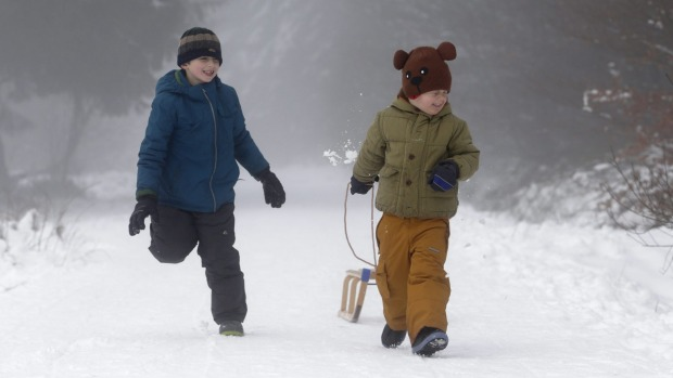 Boys play in the snow in Botrange, at the Hautes Fagnes natural park, eastern Belgium.