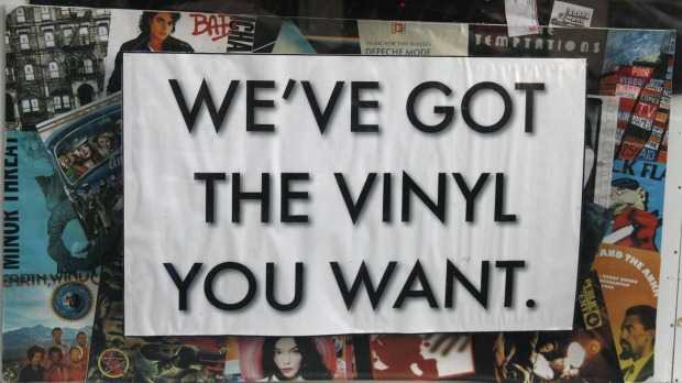 A record store advertises their vinyl selections on Telegraph Avenue in Berkeley, California. You haven'Â't really ...
