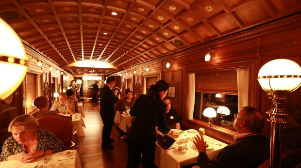 Luxurious dining: No expense is spared on Japan's Seven Stars rail trip, operated by JR Kyushu Railway Company.