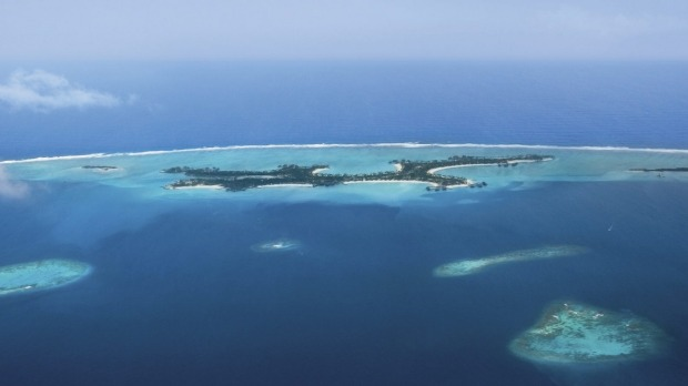 Reethi Rah as viewed from the air above the Maldives' North Male Atoll.