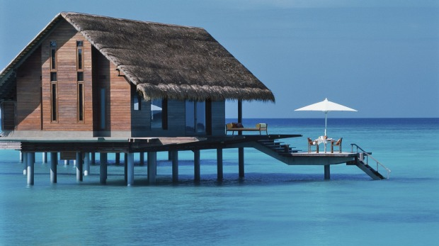 One of the 32 luxurious over-water villas at the  One & Only Reethi Rah, Maldives.