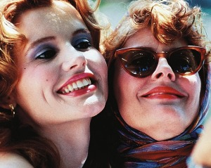 Geena Davis and Susan Sarandon in the film <i>Thelma and Louise</i>.