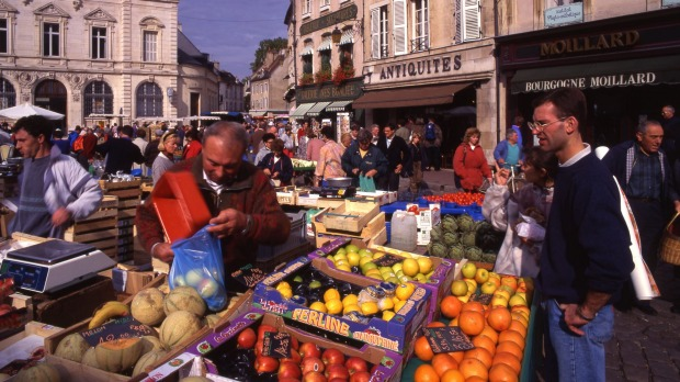 Food for thought: The market in Beaune.