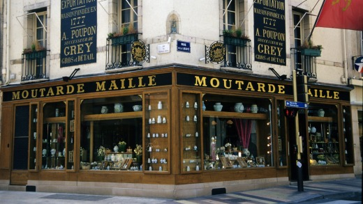A historic mustard shop in the town of Dijon.