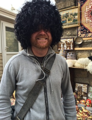 Go big or go home: Ben with his gigantic furry hat he bought in Azerbaijan.