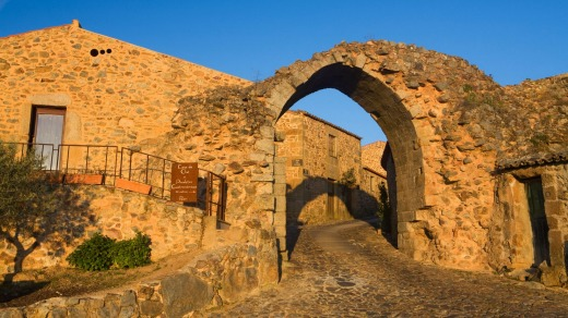 Archway in the walls in the historic village of Castelo Rodrigo, in Beira Alta, Guarda District.