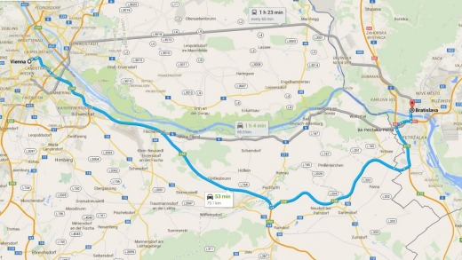 It takes takes less than an hour to drive between the two European capitals.
