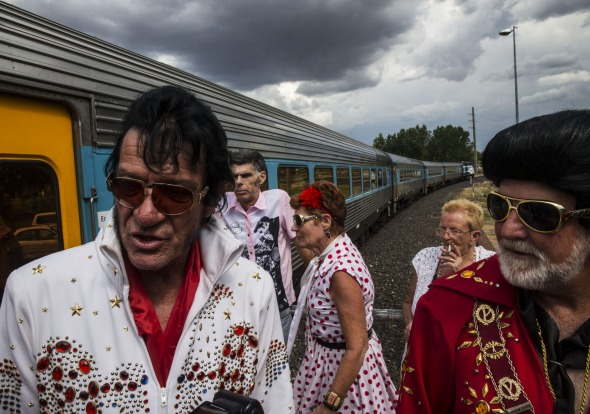 Mayor of Parkes Ken Keith right and one of the hired Elvis impersonaters from Parkes