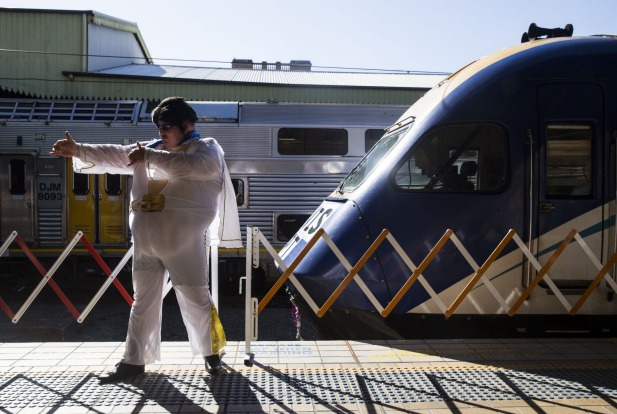 Elvis Fan Sean Wright from Boral on the train to Parkes.
