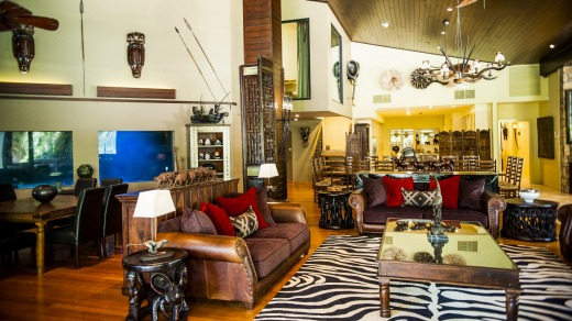 African inspired: A lounge area at the  Jamala Wildlife Lodge.